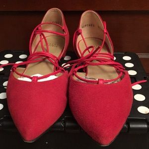 Shoes - Designer STUART WEITZMAN STRING UP FLATS, Red, 9.5